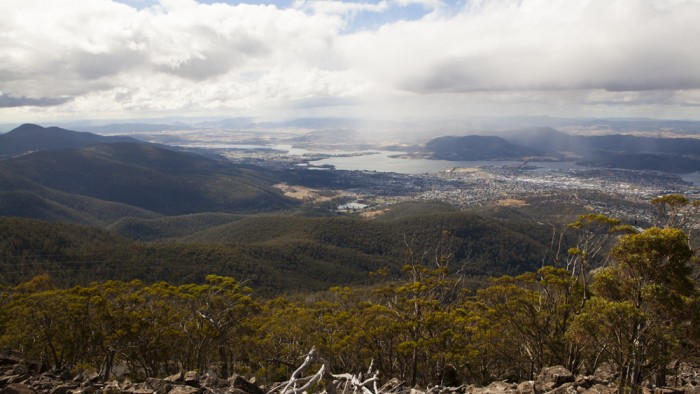 View of Hobart from under the Organ Pipes