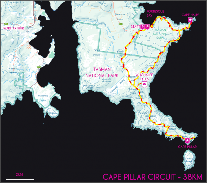 Cape Pillar Circuit Map