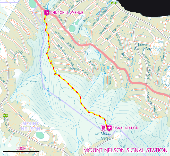 Mount Nelson Signal Station Map