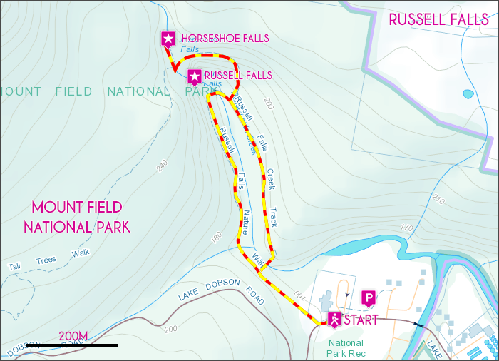 Russell Falls Map