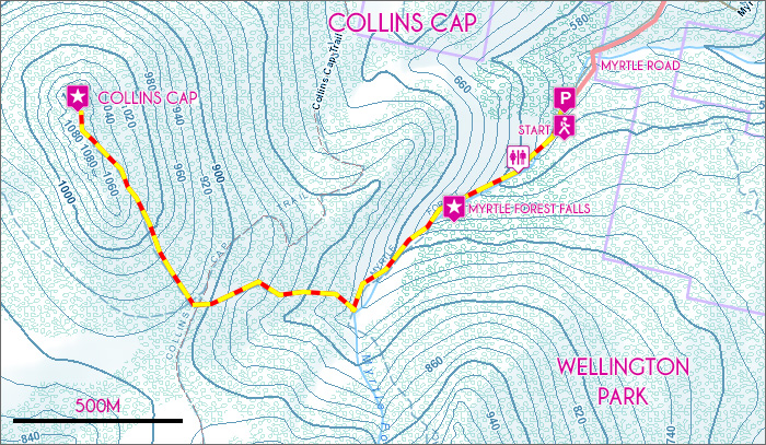 Collins Cap Trail Map