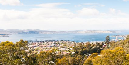 View of Hobart, Sandy Bay and the Derwent River from Knocklofty
