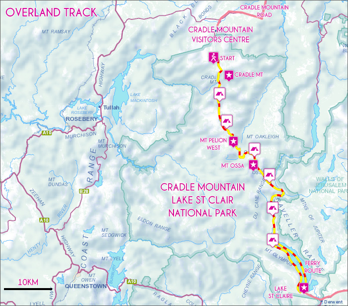 Overland Track Map
